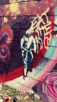 Einstein on a bicycle.